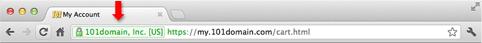 Зеленая панель с иконкой замка в Chrome для Mac